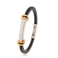 Schwarzes Armband aus Gummi, Edelstahlplättchen, Quadrate in zwei Farben