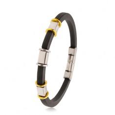 Gummiarmband in schwarzer Farbe, mit Rillen, silber- und goldfarbene Kreise