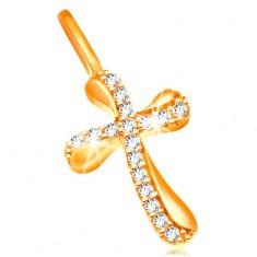 585 Goldkettenanhänger - Kreuz mit welligen Armen, klare Zirkoniasteine