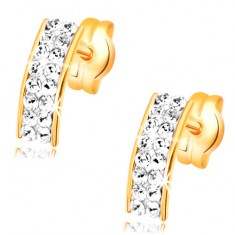 585 Gelbgoldohrstekcer - klarer Bogen aus Swarovski Kristallen, glänzend
