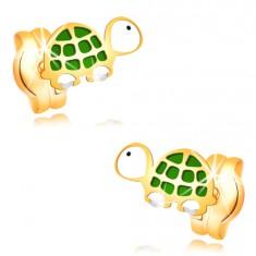 14K Gelbgoldohrstecker - kleine grün-weiße Schildkröte mit schwarzem Auge