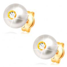14K Goldohrstecker - sahneweiße Perle mit glitzerndem klarem Zirkonia, 6 mm