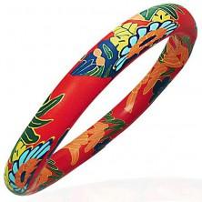 Armband aus Fimo Masse, rote Basis, Blumenmuster