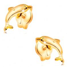 Ohrstecker aus 14K Gelbgold - Delfin beim Sprung, glänzende gewölbte Oberfläche