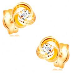 Ohrstecker aus 585 Gelbgold - Knoten aus drei Reifen, klarer Zirkonia in der Mitte