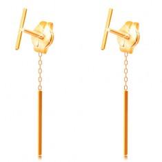 Ohrhänger aus 585 Gelbgold - schmaler gerader Stab, Ohrstecker mit Kette