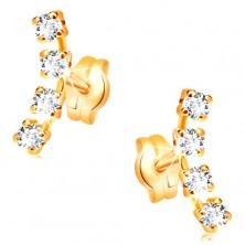 14K Gelbgoldohrstecker - Bogen aus vier klaren Zirkonia