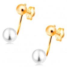 Ohrstecker in 14K Gelbgold - glänzende Kugel und weiße Perle am Stäbchen
