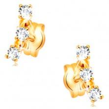 14K Gelbgoldohrstecker - Bogen aus klaren Zirkonia und glänzenden Kugeln