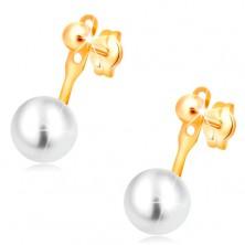 14K Gelbgoldohrstecker, glatte glänzende Kugel und große weiße Perle
