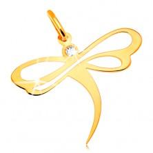 Kettenanhänger in 14K Gelbgold - Libelle mit Zirkonia und Verzierung