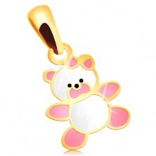 Goldener 585 Kettenanhänger - Bärchen mit rosa und weißer Glasur