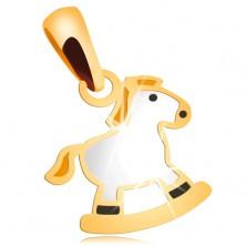14K Gelbgoldkettenanhänger - weißes Schaukelpferd mit gelber Mähne