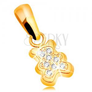 585 Gelbgoldanhänger - kleiner Bär mit klaren Zirkonia besetzt