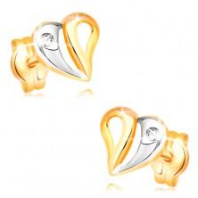 Brillantohrstecker in 14K Gold - Herz mit Verzierung und Diamanten