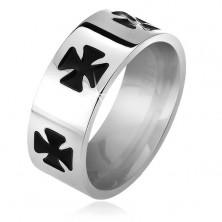 Ring aus 316L Edelstahl, schwarz glasierte Malteser Kreuze, 6 mm