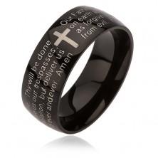Schwarzer Ring aus Edelstahl, silberfarbenes Kreuz, Vaterunser, 6 mm