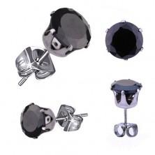 Ohrstecker aus 316L Stahl, silberfarben, runder schwarzer Zirkonia, 3 mm