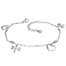 Edelstahl Armband oder Fußkette in silberner Farbe, Anhänger – Herzen und Libellen