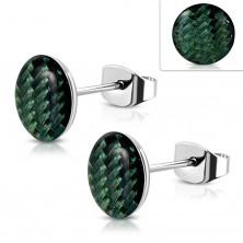 Ohrringe aus Stahl, Acryl Kreis mit dunkelgrünem Schnur Muster, Glasur