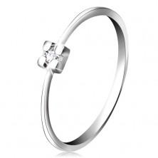 Ring aus 14K Weißgold – klarer Diamant in Quadratfassung