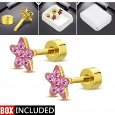Ohrstecker aus Stahl mit Schraube in goldener Farbe, glitzernde Blume aus rosa Zirkonen