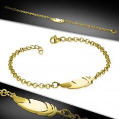 Armband aus Chirurgenstahl in goldener Farbe, glänzende Kette, Feder