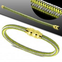 Grün-graues Armband, geflochtenes Muster, goldfarbener Magnetverschluss