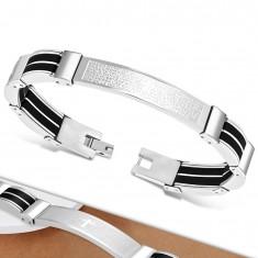 Silberfarbenes Stahlarmband, schwarze Gummiteile, Kreuz und ein Gebet