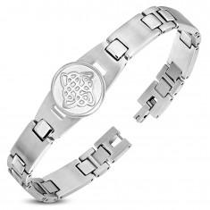 Edelstahlarmband, glänzende und matte Glieder, Kreis mit keltischem Knoten