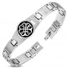 316L Stahlarmband, matte und glänzende Glieder, schwarzer Kreis mit einem Ornament