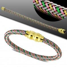 Armband mit farbigem geflochtenem Muster und goldfarbenem Magnetverschluss