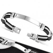 Armband - schwarze Gummiteile an den Seiten, Stahl Mitte mit Kerben, Platte