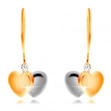 14K Gold Ohrringe – zweifarbige Herzen und ein klarer Zirkon an einem Haken