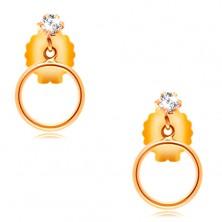 14K Gelbgold Ohrringe – klarer runder Zirkon und ein dünner Reifen