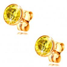 14K Gelbgold Ohrringe – gelber runder Zirkon in einer Fassung, 5 mm