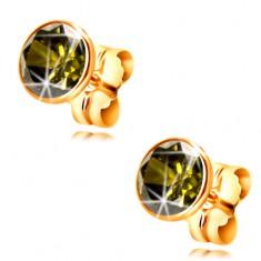 14K Gelbgold Ohrringe – olivfarbener runder Zirkon in einer Fassung, 5 mm