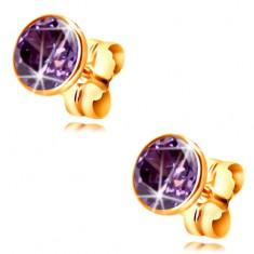 14K Gold Ohrringe – dunkel-lila runder Zirkon in einer Fassung, 5 mm