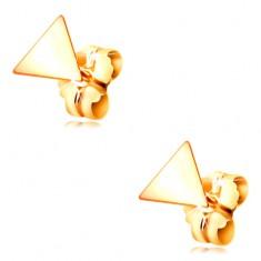 585 Gelbgold Ohrringe – glänzende glatte Dreiecke, Ohrsteckerverschluss