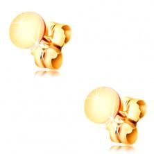 14K Gelbgold Ohrringe – glänzender flacher Kreis, Ohrsteckerverschluss