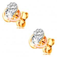 14K Gold Ohrringe – dreifarbiger Knoten aus Reifen, runde klare Zirkone