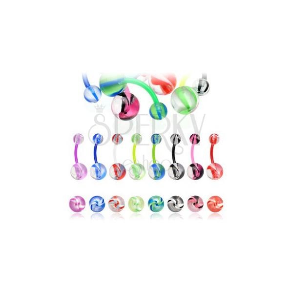 Nabelpiercing - bunte Schlieren auf Kugel