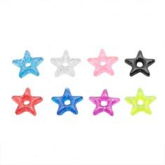 Anhänger für Piercing - Farbiger Acryl-Stern mit Glittern