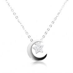 925 Silber Halskette, Kette und Anhänger, Mondsichel und Stern