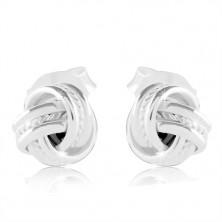 925 Silber Ohrringe, glänzender Knoten mit glänzenden Rändern und eingekerbter Mitte