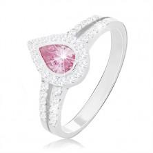 925 Silber Verlobungsring, rosa Tropfen zwischen zwei Zirkon-Linien