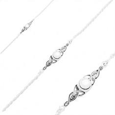 925 Silberarmband, glänzende Kugel und patinierte keltische Knoten an den Seiten