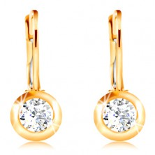 14K Gold Ohrringe – geschliffener klarer Zirkon in einer glänzenden Fassung, 4 mm