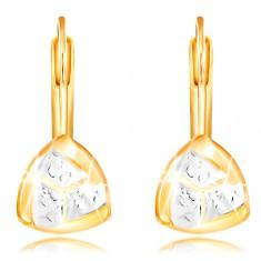 14K Gelbgold Ohrringe – zweifarbiges gebogenes Dreieck mit Einschnitten