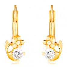 14K Gelbgold Ohrringe – glänzende Blume und ein klarer runder Zirkon